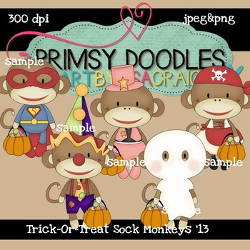 Trick-Or-Treat Sock Monkeys 300 dpi Clipart
