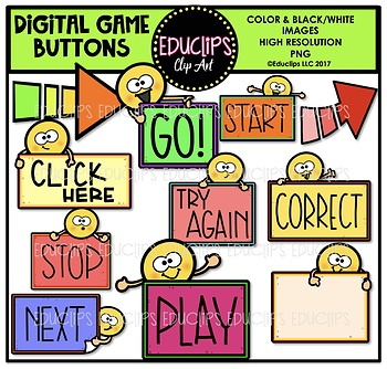 Digital Game Buttons Clip Art Bundle {Educlips Clipart}