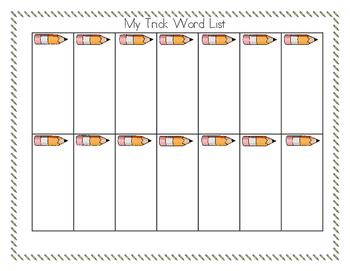 Trick/Sight Word Recording Sheet for Writing Folder