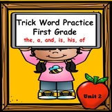 Trick Word Practice Books for First Grade (the, a, and, his, of)