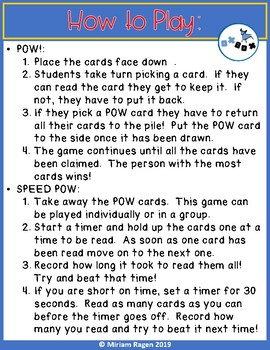 Trick Word Game Fluency: Kindergarten ELA Center Activity