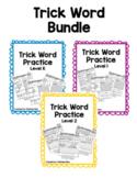 Fundational Trick Word Practice Bundle Level K, 1, 2
