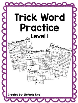 Fundational Trick Word Practice Level 1
