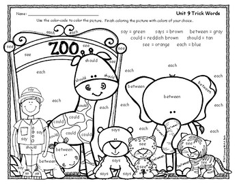 Tricky Words FREE Color By Word -  Grade 1 Unit 9