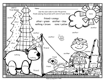 Tricky Words FREE Color By Word Level One UNIT 11