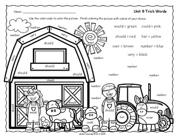 Tricky Words Free Color By Word - Grade 1 - Unit 8