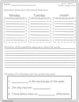 Trick Words Homework/Activity Sheets for Second Grade