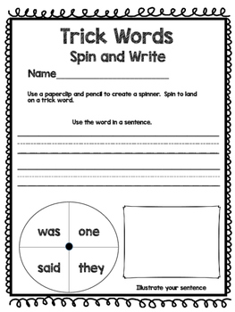 Trick Words (Sight Words) - Spin and Write!