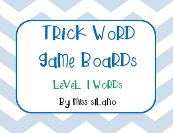 Trick Words Level 1 Game Boards