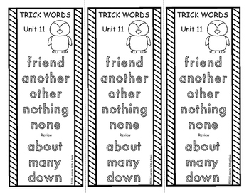 Trick Words Level 1 Word Lists - Trick Word Bookmarks or Study Booklets