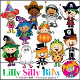 Trick or Treat?!  Clipart. BLACK AND WHITE & Color Bundle.