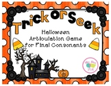 Trick or Seek Halloween Final Consonants FREEBIE