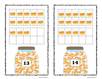 Halloween Trick or Treat 10 Frame Counting Mats Bundle Set (1-20)