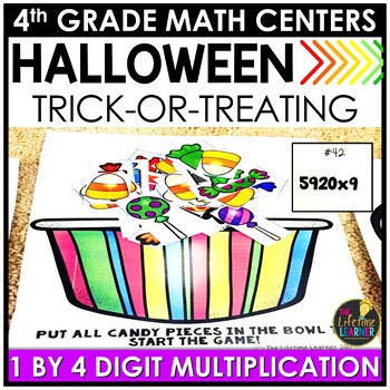 Trick or Treat 2 Digit by 2 Digit Multiplication October Math Center