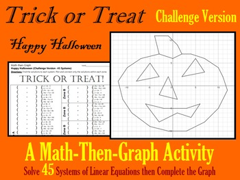 Trick or Treat - 45 Systems & Coordinate Graphing Activity
