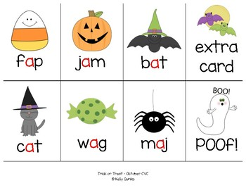 Trick or Treat: A Halloween Themed CVC Phonics Card Game