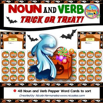 Nouns and Verbs Sorting Activity - Halloween Themed