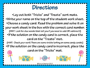 Trick or Treat: Addition and Subtraction Word Problem Center for Halloween
