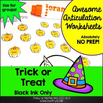 Trick or Treat Awesome Articulation Worksheets 720 Words