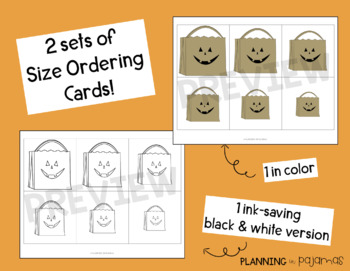Halloween Treat Bags Size Ordering (From Smallest to Largest)