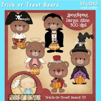 Trick or Treat Bears Clip Art Color  personal & comm use P