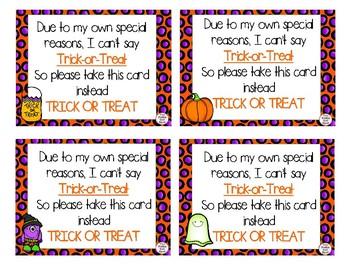 Trick or Treat Cards for Nonverbal Children-Speech Delays, Autism, etc.