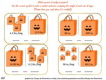 Trick-or-Treat Decimals:  Multiplying & Comparing Decimals