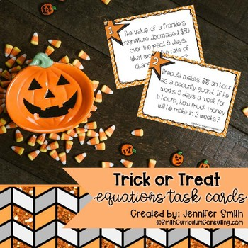 Halloween Math Task Cards | Writing Equations from Word Problems