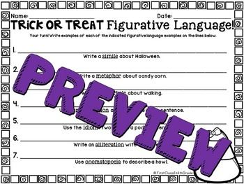 Trick-or-Treat Figurative Language (Halloween Literary Device Unit)