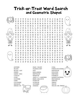 """""""Trick-or-Treat & Geometric Shapes"""" Word Search - FUN! (Black Line & Color)"""