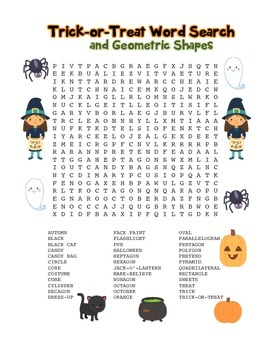 """""""Trick-or-Treat & Geometric Shapes"""" – Word Search – Halloween Fun! (Color)"""