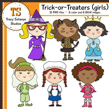 Trick-or-Treat Girls -- Halloween Clipart Set {Tracy Sztanya Studios}
