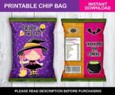 Trick or Treat Halloween Chip Bag, Witch Goodies Bag, Classmates Exchange Ideas