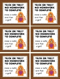 Trick or Treat Halloween Homework Pass