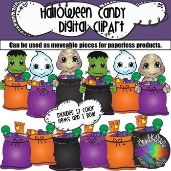 Trick or Treat Halloween Sacks  Moveable PNG Graphics