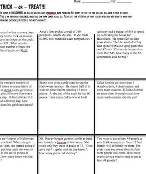 Halloween Math: Trick or Treat Word Problems Tic Tac Toe