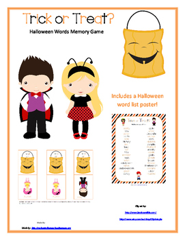 Trick or Treat? Halloween Words Memory Game