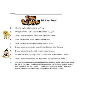 Trick or Treat - Halloween following directions
