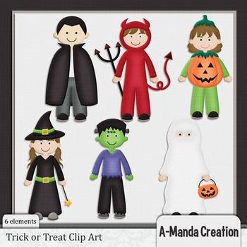 Trick or Treat Kids Halloween Clip Art