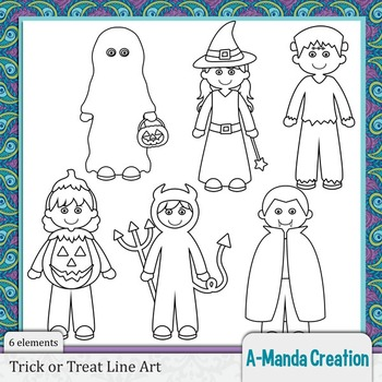 Trick or Treat Kids Halloween Line Art and Digital Stamps