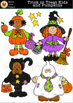Trick or Treat Kids and Pumpkins Halloween Clipart [Marie