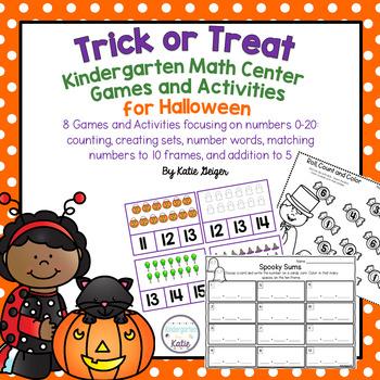 Trick or Treat Kindergarten Math Center Games and Activities