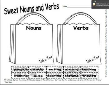 Trick or Treat Nouns and Verbs (CC L.2.1a)