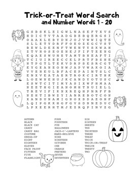"""""""Trick-or-Treat & Number Words"""" Word Search – Halloween Fun! (BlackLine & Color)"""