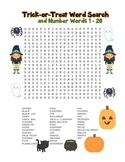 """""""Trick-or-Treat & Number Words"""" – Word Search – Halloween Fun! (Color)"""