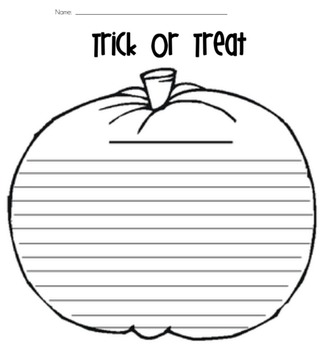 Trick or Treat Pumpkin Writing Template