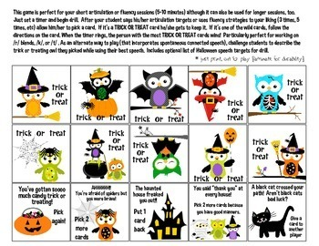 Trick or Treat Quick Drill {for articulation or fluency therapy & RTi}