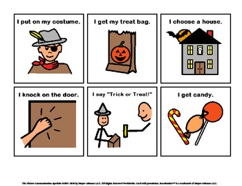 halloween trick or treat sequencing cards social story tpt. Black Bedroom Furniture Sets. Home Design Ideas