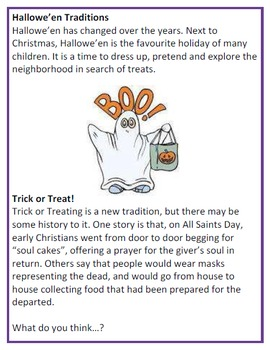 Trick or Treat Smell my Feet Hallowe'en Reading Comprehension