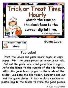 Trick or Treat Time Hourly File Folder Game